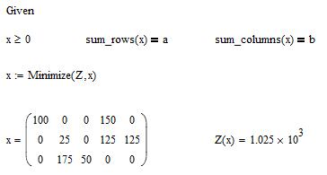 Примеры решения транспортной задачи в mathcad задачи на показатель преломления с решением