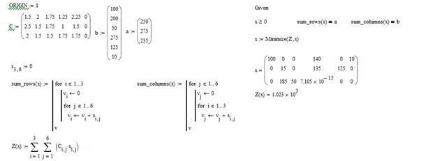Примеры решения транспортной задачи в mathcad программа практикум решения математических задач