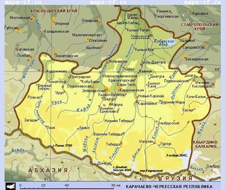 Описание: Карта Карачаево-Черкессии