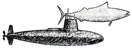 Рис. 6. Американская подводная лодка 'Скипджек'. Форма корпуса подводной лодки точно такая же, как и у быстроходной рыбы тунца