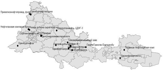 Карта Предприятий черно белая