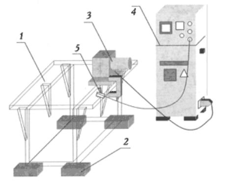 Схема виброобработки сварных конструкций