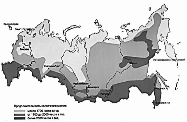 карта солнечной инсоляции в России