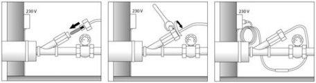 Установка кабеля внутри трубы