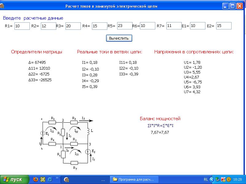Программа методом контурных токов