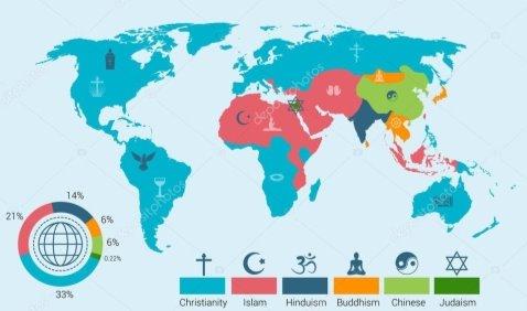 Карта религий мира — стоковый вектор