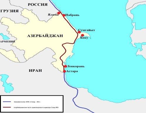 Азербайджанская часть транспортного коридора Север-Юг