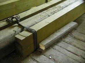 Усиление балок деревянными накладками