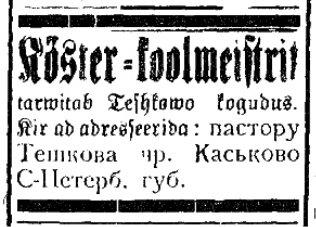 C:\Users\Sergey\Desktop\Эстонская община в Тешково\Elu, nr 57. 8 märts 1908. Lk. 4.jpg