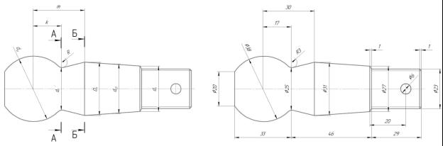 Расчетная схема шарового пальца рулевого управления