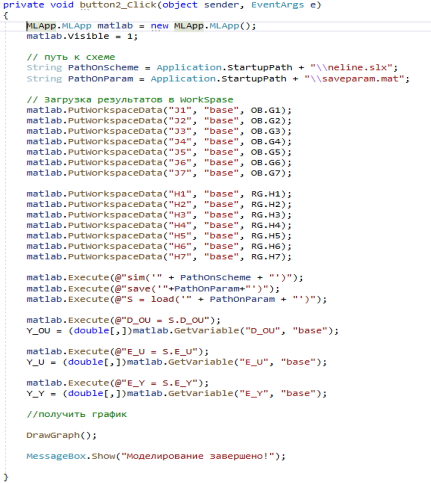 Код процедуры «Моделирование»
