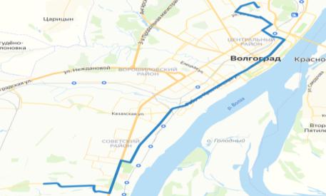 Схема предлагаемого маршрута движения автобуса ТРК Мармелад — Горная поляна