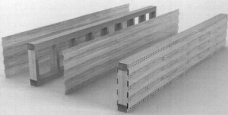 Общий вид деревометаллической балки со стенкой из стальных профилированных листов с ориентацией гофров вдоль поясов