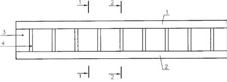 Общий вид металлодеревянной двутавровой балки [20]. 1 — верхний, 2 — нижний пояса из древесины, 3 — металлическая стенка, 4 — поперечные гофры