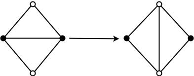 Изменение топологии согласно алгоритму поиска топологического примитива № 1