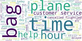 : Облако слов, часто встречаемых в негативных отзывах для всех авиакомпаний