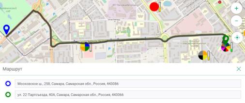 Построение маршрута до выбранной цели и отображение ближайших к этому маршруту пунктов сбора мусора