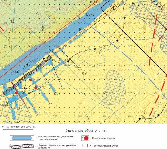 Схема расположения электротомографических профилей и предполагаемого штрека для улавливания дренированных подземных вод