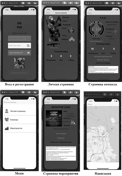 Интерфейс разработанного приложения