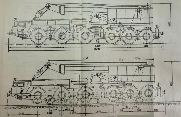 ГЖТС на базе шасси МАЗ-547 со смонтированным на нем краном грузоподъемностью 80 т