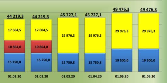 Динамика государственного долга в период с 01.01.2020 по 01.06.2020
