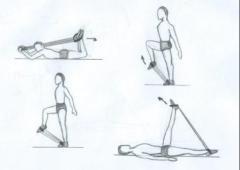 Упражнения с амортизатором для мышц ног.