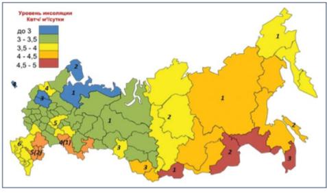 Уровень инсоляции по зонам на территории РФ