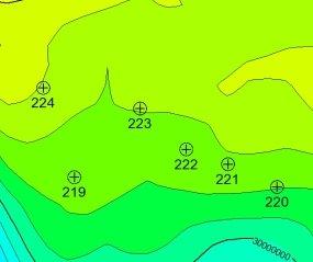 План расположения проектных скважин на карте остаточных запасов месторождения Угам