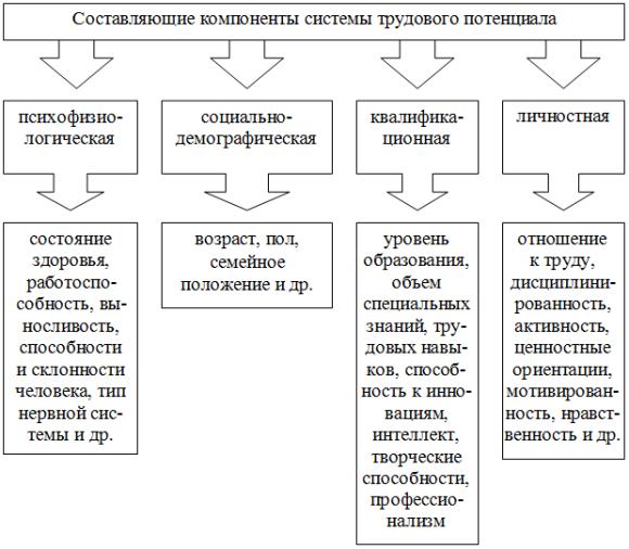 Составляющие компоненты системы трудового потенциала