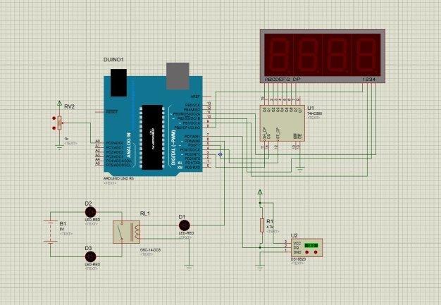 Принципиальная схема средств технической автоматизации контроля температуры в помещении в среде Proteus