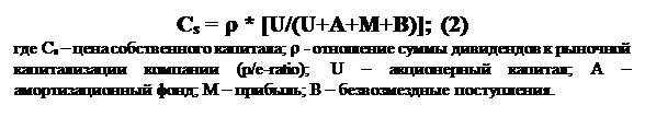 Text Box: Cs = r * [U/(U+A+M+B)]; (2)где Cs – цена собственного капитала; r - отношение суммы дивидендов к рыночной капитализации компании (p/e-ratio); U – акционерный капитал; А – амортизационный фонд; М – прибыль; В – безвозмездные поступления.