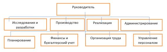 Схема организационной структуры подчинения руководителю администрирования