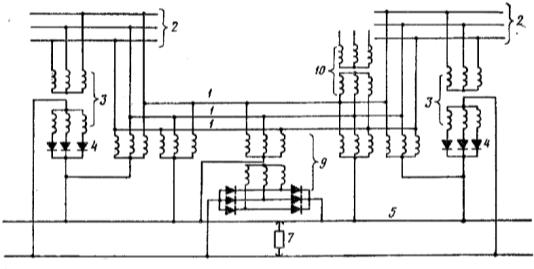 Схема питания электрической железной дороги, включающая линию трёхфазно-постоянного тока и пункт подпитки