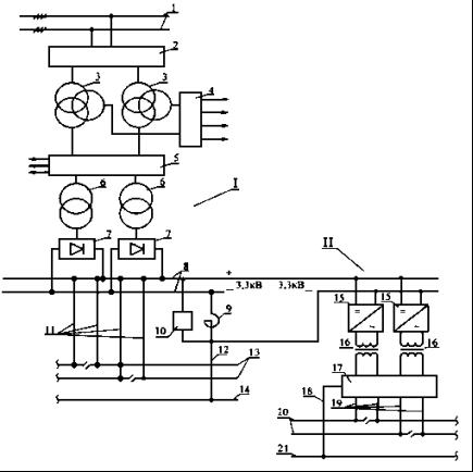 Схема тяговой подстанции с дополнительной структурой переменного тока