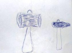 Молоток. Пациент изобразил орудие своего труда, которое он может ровно держать в руках, когда употребит алкоголь
