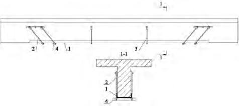 Усиление железобетонных балок металлом: 1 — швеллер; 2– наклонная тяга; 3 — вертикальная тяга; 4 — упор