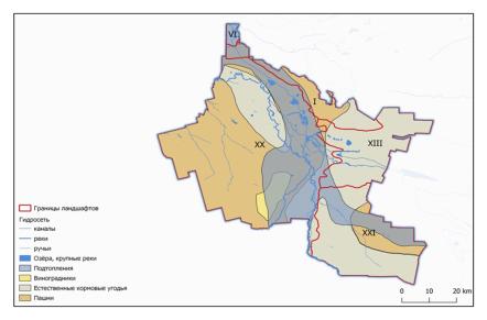 Сельскохозяйственные угодья, подверженные подтоплению (составлено автором)