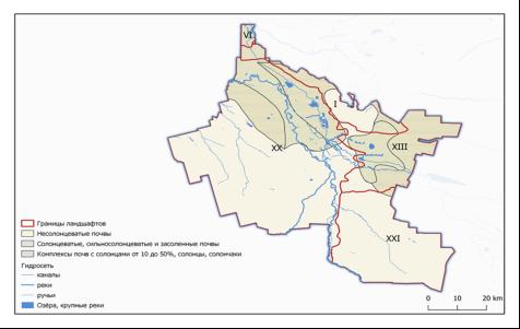 Сельскохозяйственные угодья, подверженные засолению и просадкам (составлено автором)