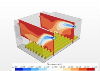 Температурные поля, проходящие через людей, приточную и вытяжную решетки