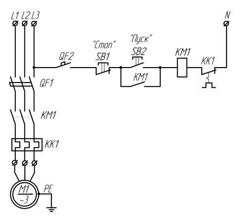 Простейшая электрическая принципиальная схема управления трехфазным асинхронным электродвигателем в ручном режиме