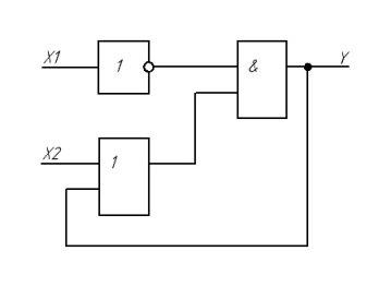 Схемная реализация логической функции (1) на бесконтактных элементах