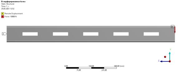 Расчетная модель перфорированной балки.