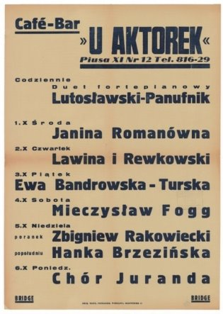 Афиша выступлений фортепианного дуэта Лютославский-Пануфник в кафе «У актрис» (октябрь 1941 года)