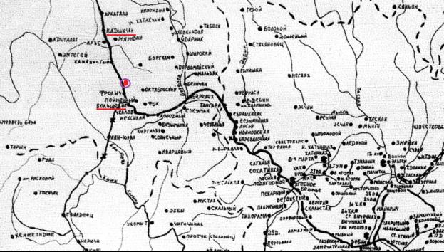 Карта колымских лагерей (фрагмент)[13]. Подчёркнуты названия посёлков Кадыкчан, Большевик. Точкой внутри кружка отмечено место смерти Хенрика