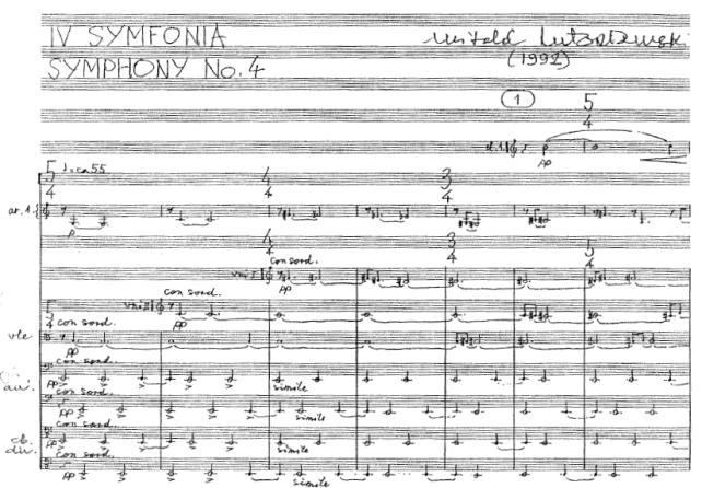 Первая страница партитуры Четвёртой симфонии