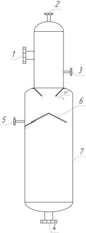 Реактор синтеза АМТП: 1 — ввод ММК, 2 — ввод акролеина, 3 — ввод катализатора, 4 — вывод АМТП, 5 — измерение температуры, 6 — статический смеситель, 7 — корпус