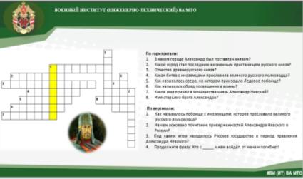 Разработанный кроссворд на знание истории, связанной с Александром Невским