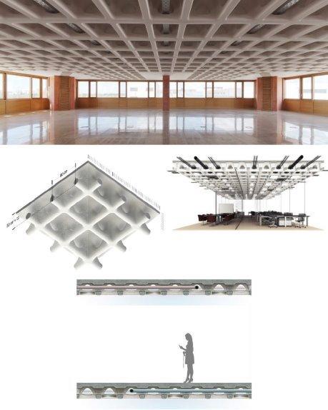 Общий вид плиты (HOLEDECK) со встроенными инженерными сетями и её разрез