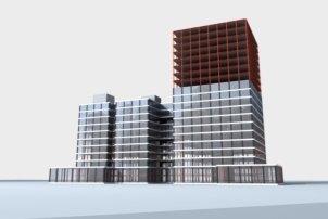 Вариант готового полно-монтажного здания из сталежелезобетонных элементов заводского изготовления