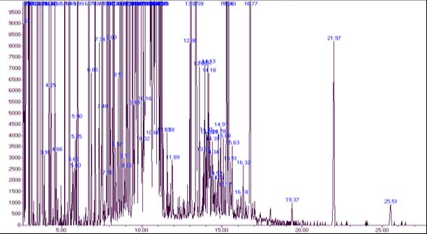 Хроматограмма разделения силилированных производных соединений после кислотного гидролиза экстракта растения Горец птичий (Polygonum aviculare L.)